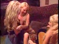 Three blondes Lesbians with strapon.