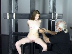 Old guy makes Kitty cum with BDSM