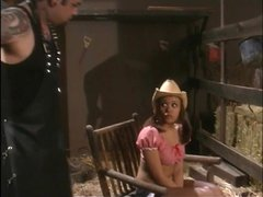 Babe in the barnyard gets a real BDSM playtime