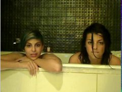 2 young whores get a bath together on webcam
