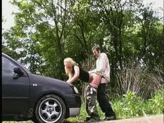 Hot german amateur babe fucked outdoors and in a car