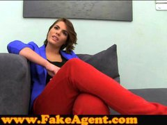 FakeAgent Posh amateur tries anal in casting