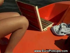 Real euro teen sucking dick in public for lucky guy