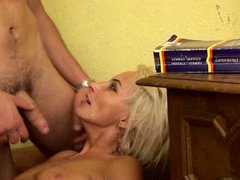 Hot blond mature lady fucked on the couch