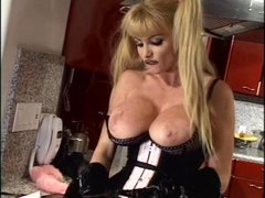 Blonde mistress fucks her slave by strapon
