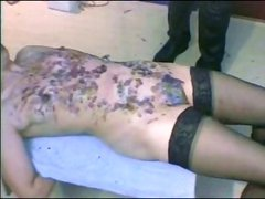 German amateur brunette is tied up and getting tortured in BDSM clip