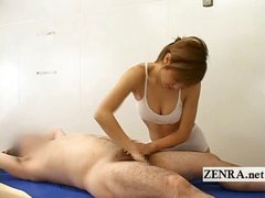 Sensual groin massage performed by Japanese sauna lady