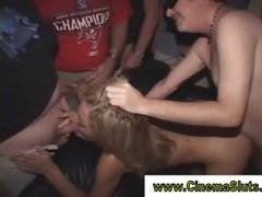 Amateur gangbang in porn theater