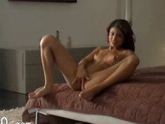 Exotic glamour rubbing clit in art movie