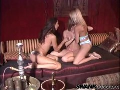 Pussy eating women in a lesbian threesome
