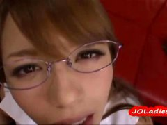 Hot Secretary With Glasses Fingered Giving Blowjob...