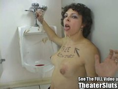Vicious slut gets creamed in the toilet