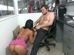 Hot and horny Sandra Romain is feeling like she would have a nice fuck today so she is sucking a big cock and having her pussy raped by it while some other dude are watching.