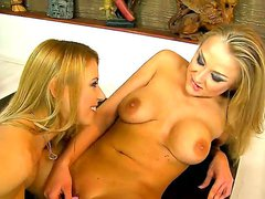 Beautiful lesbian blondies Nikky Thorne and marvelous Yani are baing all wet and horny, while laying down on a bed with each other, and shoving their toys in their pussies.