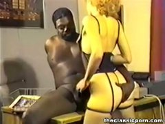 Retro blonde nailed by black boss
