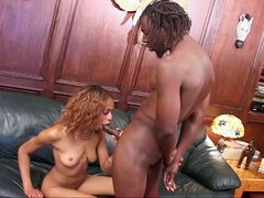 Skinny ebony pumped by massive cock