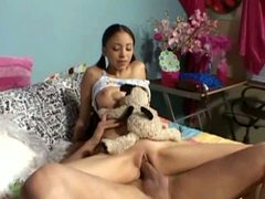 Dirty teen latina has her clam munched