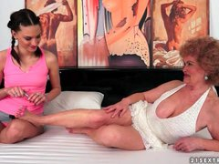 Tit sucking excitement with old young lesbians