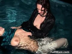 Sexy brunette lesbians get horny making