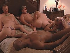 Swing interracial party on the home bed