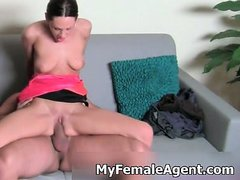 Sexy brunette female agent with nice ass