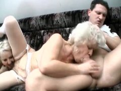 Hairy blonde grannies threesome fuck