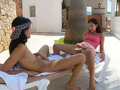 Hot lesbian scene with adorable curves