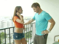 Ultra sexy teen girl Riley Reid with long legs and