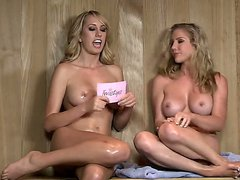 These wet blondes sitting in sauna