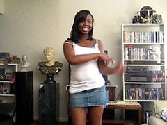 Cute mirror ebony honey having fun and strips
