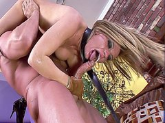 Hot blonde MILF slut enjoying hardcore anal fucking