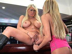 Two smoking hot blonde lesbos eat each other out at the bar