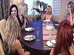 Horny hot lesbian sluts enjoy a group sex dinner
