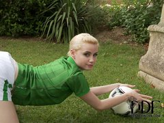 Alluring blonde Shannon Reid poses in green and white Irish