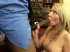 Busty blonde Ashley Winters has fun with well hung black