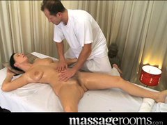 Massage Rooms Mature woman has her hairy pussy massaged