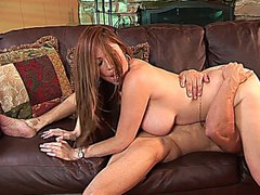 Sexy brunette MILF with huge tits gets banged on the couch
