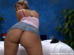 Naughty chick Isis in tiny skirt shows off her juicy