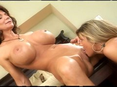 Two smoking hot mature lesbian babes together in bed