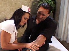 Sexy brunette nurse sucking her patients dick and getting fucked hard