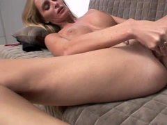 Skinny long legged milf with big tits toys vagina