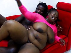 Ebony BBW pussy working like a maniac