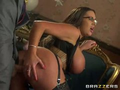 Curvy four-eyed brunette Emma Butt with monster tits and bubble