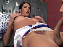 Horny as hell shemale cheerleader Gabriel D'Alessandro fucks Morgan Bailey