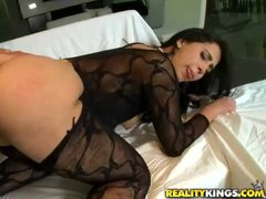Curvy brunette in black Valerie Kay has incredibly sexy big