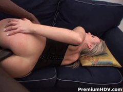 White slut Candra in sexy black nylons loves big