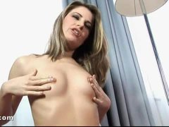 Double anal play with slim dildo girl