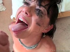 Eye makeup running as she sucks big cock