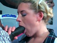 Beautiful schoolgirl sucks big black cock