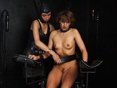 BDSM play with two chicks as one gets